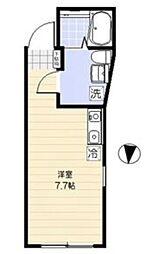 京王井の頭線 駒場東大前駅 徒歩8分の賃貸マンション 2階ワンルームの間取り