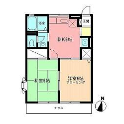 神奈川県高座郡寒川町一之宮2丁目の賃貸アパートの間取り