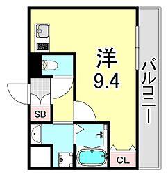 ロイヤルクイーンズパーク吹田片山町 8階ワンルームの間取り