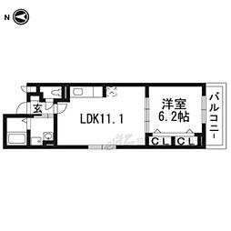 エリシオン・レジデンスIII 3階1LDKの間取り