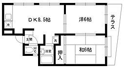トリオハイツ夙川[1F-W号室]の間取り