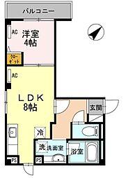 東京メトロ南北線 六本木一丁目駅 徒歩14分の賃貸マンション 2階1LDKの間取り