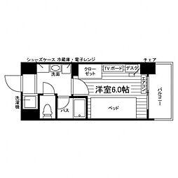 N-stage八王子大塚学生会館[食事付き] 5階ワンルームの間取り