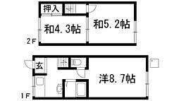 [テラスハウス] 兵庫県川西市栄町 の賃貸【兵庫県 / 川西市】の間取り