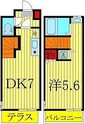 コンフォルト 2階1DKの間取り