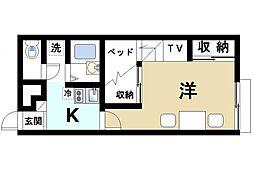 JR片町線(学研都市線) 木津駅 徒歩11分の賃貸アパート 1階1Kの間取り