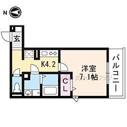 仮称)D-room一乗寺高槻町 2階1Kの間取り
