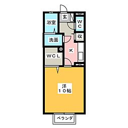 リビングタウンかじま台IIA棟 2階1Kの間取り