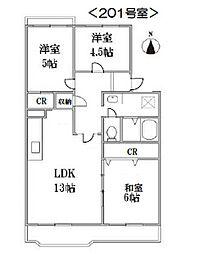 さがみ野さくらマンション14号棟[2階]の間取り