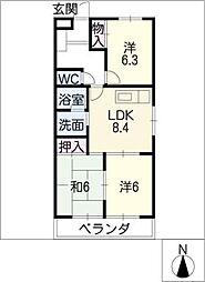 マリンハイツ藤[3階]の間取り