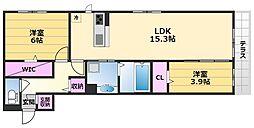 Kステイブル 1階2LDKの間取り