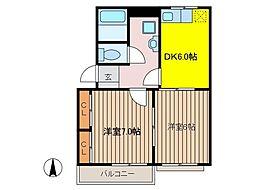 東京都府中市本宿町4丁目の賃貸アパートの間取り