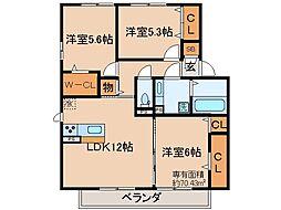 京都府京都市山科区西野広見町の賃貸アパートの間取り