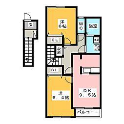 メゾンド・ソレイユ B[2階]の間取り