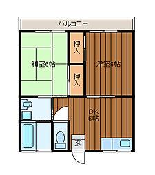 第一栄荘[201号室]の間取り