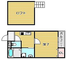 大阪府茨木市横江1丁目の賃貸アパートの間取り