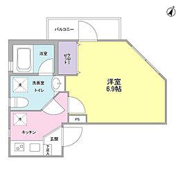 東急目黒線 西小山駅 徒歩7分の賃貸マンション 4階1Kの間取り