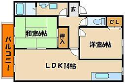 兵庫県明石市小久保3丁目の賃貸アパートの間取り