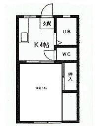 福岡県北九州市小倉北区板櫃町の賃貸アパートの間取り