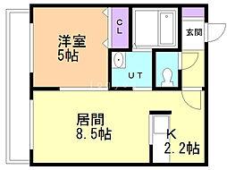 ブレッシング札幌元町 3階1LDKの間取り