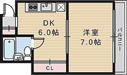 桃井マンション[403号室]の間取り