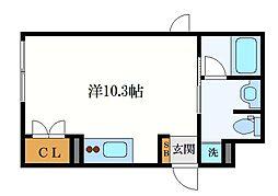 名古屋市営鶴舞線 浅間町駅 徒歩10分の賃貸マンション 4階ワンルームの間取り