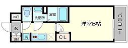 エステムコート梅田・天神橋IVステーションフロント 3階1Kの間取り