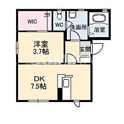 岡山県岡山市北区三門東町の賃貸アパートの間取り