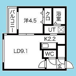 札幌市営南北線 北12条駅 徒歩5分の賃貸マンション 4階1LDKの間取り