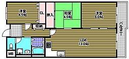 ファミリープラザ泉北光明池2番館[3階]の間取り
