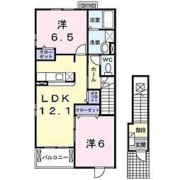 千葉県野田市堤台の賃貸アパートの間取り