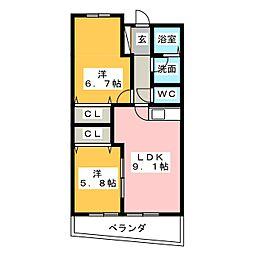 LIBERTE MIYAKAMI[1階]の間取り