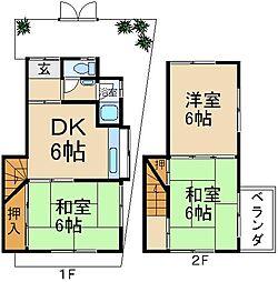 [テラスハウス] 大阪府枚方市北中振1丁目 の賃貸【/】の間取り