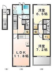 JR湖西線 安曇川駅 徒歩8分の賃貸アパート 2階2LDKの間取り