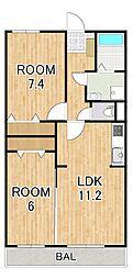 (仮称)シャロルIII上鈎マンション 2階2LDKの間取り