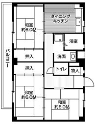 神奈川県横浜市旭区善部町の賃貸マンションの間取り