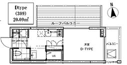 B CITY APARTMENT TACHIKAWA[309号室号室]の間取り