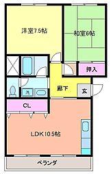 千葉県柏市増尾2丁目の賃貸マンションの間取り