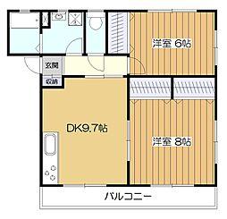 東京都東大和市高木1丁目の賃貸アパートの間取り