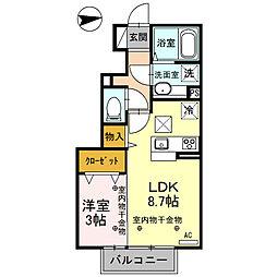 栃木県栃木市平柳町2の賃貸アパートの間取り