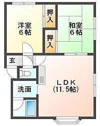 マーシャルセーラー花川 3階2LDKの間取り