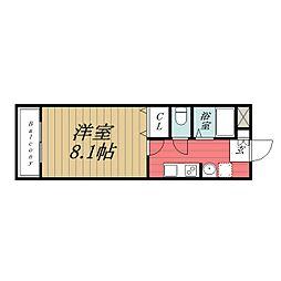 千葉県東金市田間の賃貸アパートの間取り