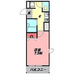 コボックス太子橋 7階1Kの間取り