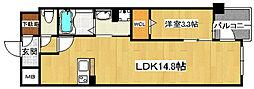 JR東西線 御幣島駅 徒歩11分の賃貸マンション 4階1LDKの間取り