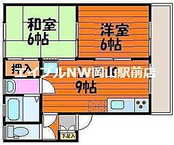 岡山県岡山市北区大安寺南町2の賃貸アパートの間取り