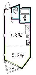 JR総武線 荻窪駅 徒歩22分の賃貸アパート 1階ワンルームの間取り