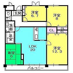 フォレステージュ夙川[2階]の間取り