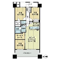 東京都立川市緑町の賃貸マンションの間取り