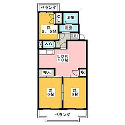 芹澤ハイツ[4階]の間取り