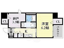 南海高野線 堺東駅 徒歩15分の賃貸マンション 8階1SKの間取り